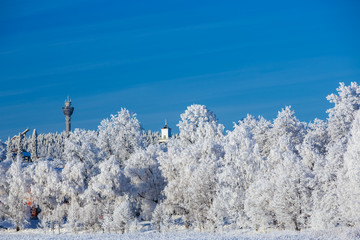Winter view towards Puijo tower and Kuopio Cathedral