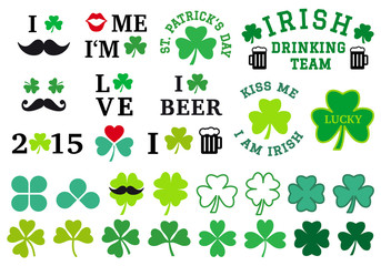 St Patrick's day, clover set, vector