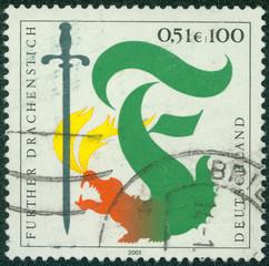 stamp shows Furth Dragon Lancing Festival, Furth im Wald