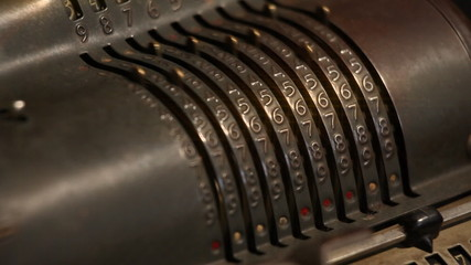Close up of an old cashier