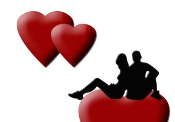 Pareja, corazones, fondo blanco, San Valentín