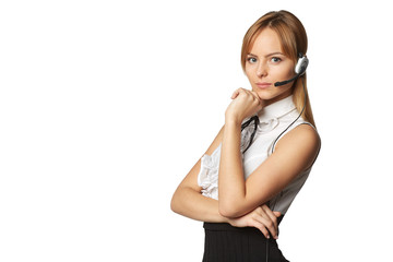 Telemarketing headset woman call center operator smiling talking