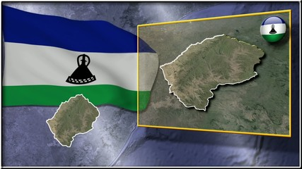 Lesotho flag and map animation
