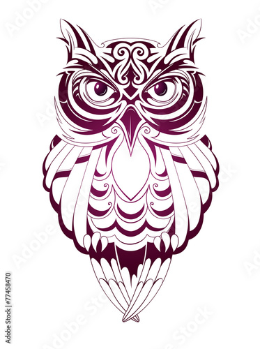 Foto op Aluminium Uilen cartoon Owl tattoo