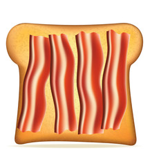 toast with bacon vector illustration