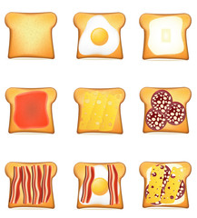 set icons toast vector illustration
