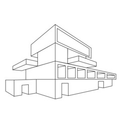 2D perspective drawing of a house