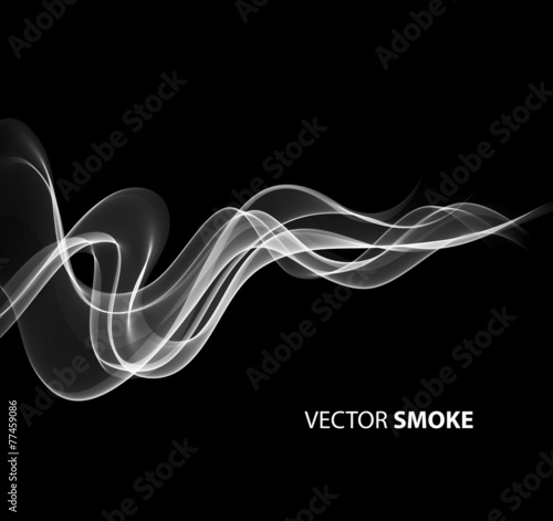 Fotobehang Rook Vector realistic smoke on black background