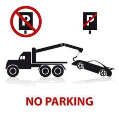no parking symbols with car and signs eps10