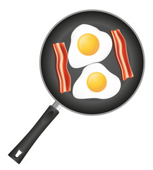 fried eggs with bacon in a frying pan vector illustration