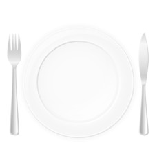 plate with fork and knife vector illustration