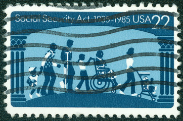 stamp printed in USA dedicated to social security act