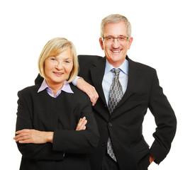Paar Senioren als alte Geschäftsleute
