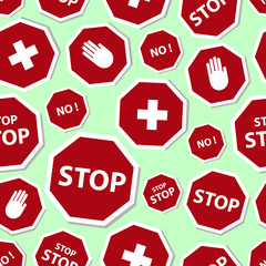 red stop road sign set seamless pattern eps10