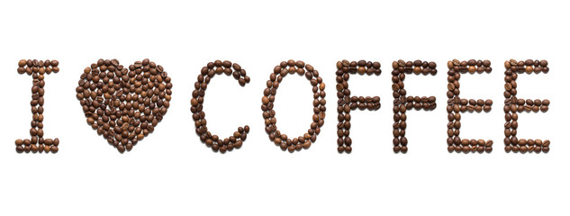 "Message ""I love coffee"" placed with roasted coffee beans"