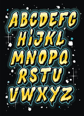 Hand drawn comics style letttering font. Vector alphabet