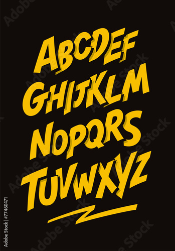 Tuinposter Graffiti Graffiti comics style font. Vector alphabet