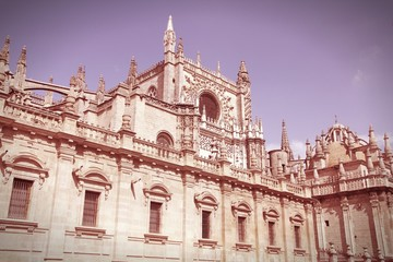 Seville Cathedral. Cross processed color tone.