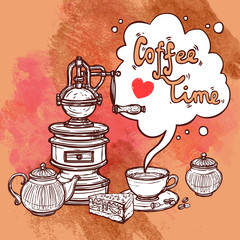 Coffee Sketch Background