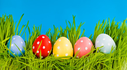 Colorful easter eggs in a row on green grass