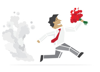 Happy Valentine. Running Man with flowers. Vector illustration.