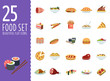 Collection of food icons in flat design style. - 77461273