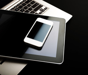 keyboard with phone and tablet pc