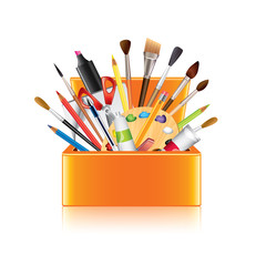 Art supplies box isolated on white vector