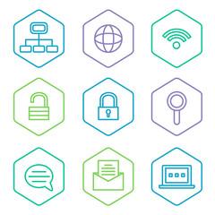 data analytics icons set, big data concept icons pak