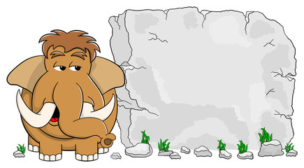 Mammut vor Steintafel mit Textfreiraum