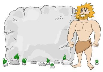 Höhlenmenschen vor Steintafel mit Textfreiraum