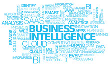 "Постер, картина, фотообои ""Business Intelligence saas cloud computing words tag cloud text"""
