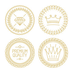 Set of linear badges - premium quality and best choice
