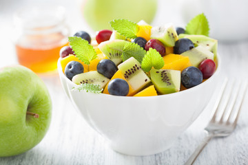 fruit salad with mango kiwi blueberry for breakfast