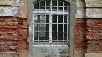 Close up of an window on abandoned and old building