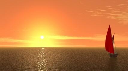 Scarlet sails on orange sunrise