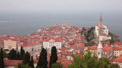 Shot of Piran from the hil