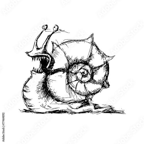Fototapeta Sketch of snail, vector illustration