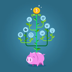 Plant with business symbols growing from piggy bank