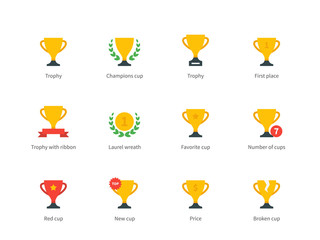 Trophy and awards colored icons on white background.