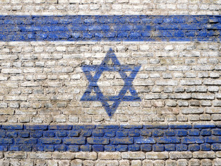 Israeli flag painted on wall