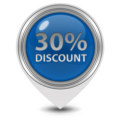 Discount thirty percent pointer icon on white background
