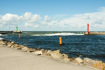 Seaport in Mrzeżyno in Poland - Baltic Sea
