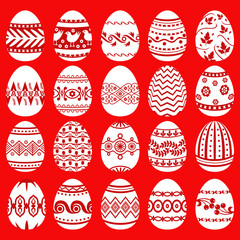 Easter eggs set on red background
