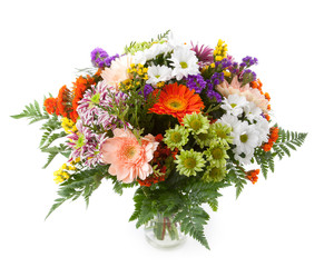 Mixed flowers flower bunch in a vase