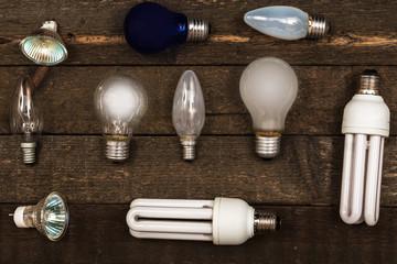 Lightbulbs on wooden background