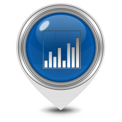 Data analysis pointer icon on white background