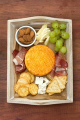 cheese with prosciutto and grapes