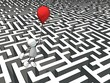 Leinwanddruck Bild - little sketchy man escaping a maze with a red balloon