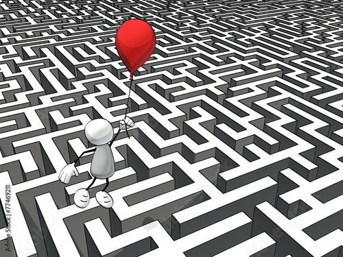 Leinwanddruck Bild little sketchy man escaping a maze with a red balloon